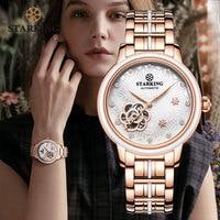 STARKING-Reloj de pulsera de acero inoxidable para mujer, oro rosa, cristal de zafiro, automático, mecánico
