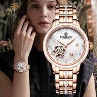 STARKING Women Rose Gold Stainless Steel Wrist Watch Luxury Jewels Sapphire Glass Auto Self Wind Female Mechanical Watch Relogio
