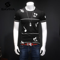 SAVIVA Brand Clothing Printting Musical Note T Shirt Fashion O Collar T Shirt Male 100 Cotton