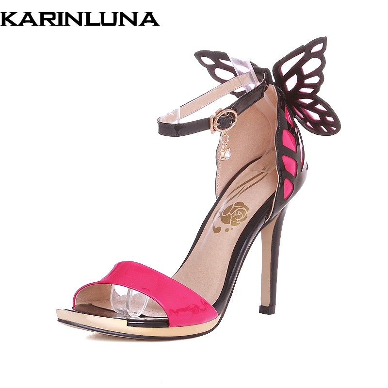 Karinluna 2018 genuine leather thin high heels butterfly summer sandals shoes sexy ankle-strap party wedding women shoes super high ladies sweet sexy summer butterfly crystal high heels sandals women platform ankle strap shoes purple wedding shoes