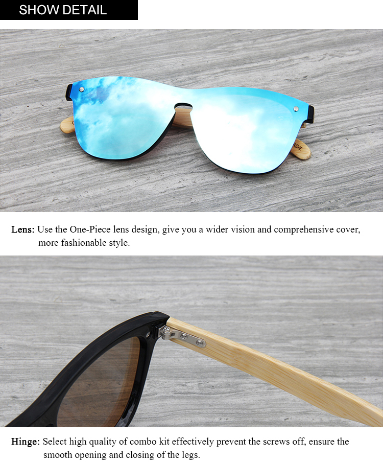 CONCHEN Mirror Lenses Bamboo Wooden Sunglasses 16