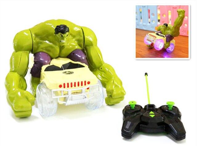 10set The Avengers RC flash sound Hulk Smash Toy Vehicle Smashes,flips,spins car model Go through obstacles kids child toys gift