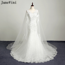 JaneVini Elegant Mermaid Lace Wedding Dresses Scoop Neck Appliques Beaded Illusion Sweep Train Bridal Gowns Robe Mariee Dentelle