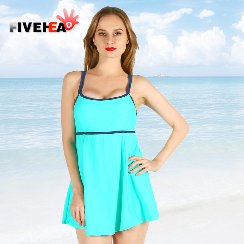 one-piece women swimwear sexy sling solid color halter striped large size big bust bathing swimsuit push up swimdress female sexy solid color halter one piece skirted swimwear for women