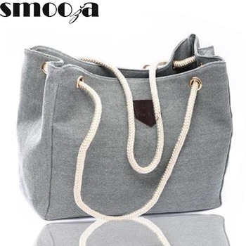 SMOOZA high quality Fall 2018 new canvas handbag personality contracted large bag rope single shoulder bag women handbag big bag