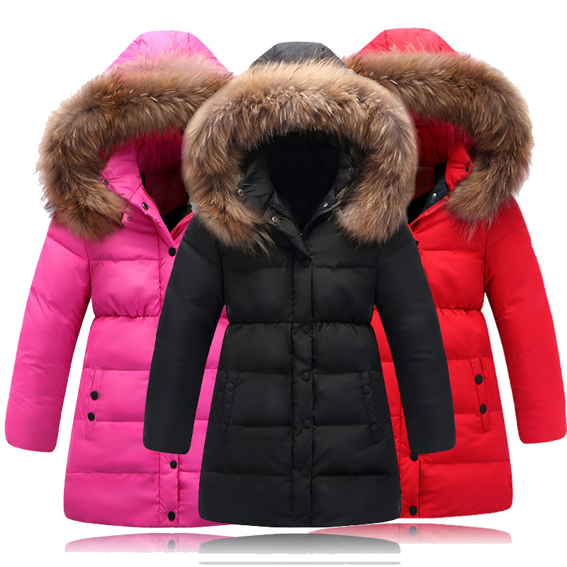 Fur Decathable Cap Middle Long Girls Down Jacket White Duck Down Thicken Children's Clothing Winter Warm Solid Color Boys Coat adiors long middle parting shaggy wavy color mix synthetic party wig