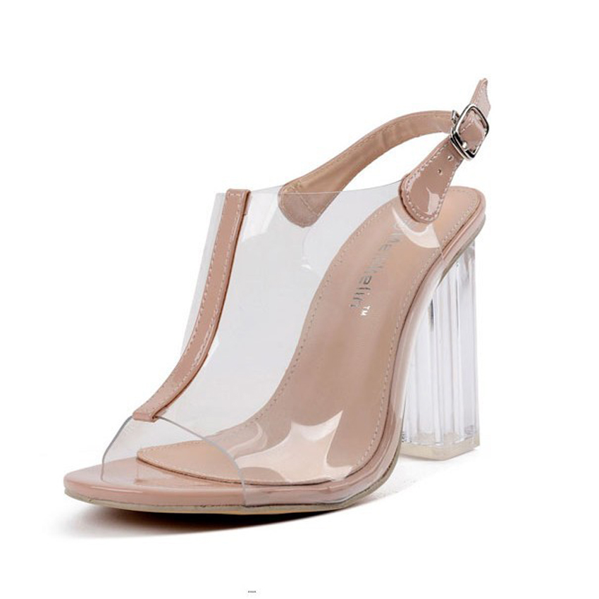 new arrival summer sexy women clear transparent sandals block high heel slingback wedding shoes woman open toe strap buckle pump