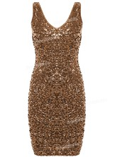 PrettyGuide Women Sexy Deep V Neck Sequin Glitter Bodycon Stretchy Mini Party Dress Sparkle Night  Club Dress  11 colors