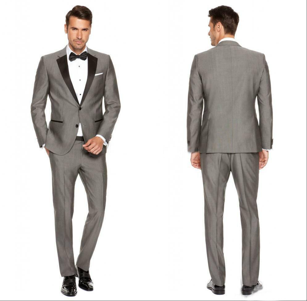 2019 Customs Grey Mens Suits Black Lapel Slim Fit Wedding Suits For Men / Groomsmen Prom Casual Suits (Jacket+Pants+Vest) Blazer