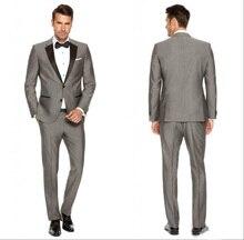 2019 Customs Grey Mens Suits Black Lapel Slim Fit Wedding for men / Groomsmen Prom Casual (Jacket+Pants+Vest) blazer