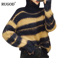 RUGOD Fashion Turtleneck Cashmere Sweater Women 2018 Autumn Winter Thick Warm Knitted Pullover Soft Striped Jumpers Sueter Mujer