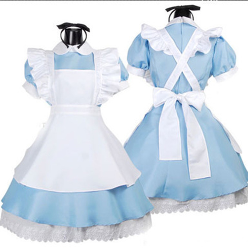 Alice In Wonderland Cosplay Costume Lolita Dress Maid Apron Dress Fancy Dress Cosplay Costume Deguisement Halloween Femme F14