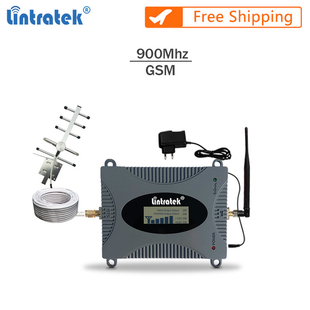 Lintratek GSM Repeater Voice Amplifier 900Mhz 2G Signal Booster Full Kit GSM 900 Cellphone Booster Yagi Antenna+10M Cable