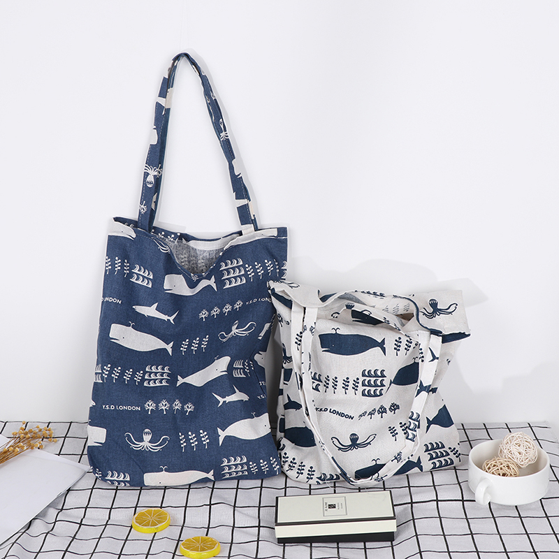 1x Animals Linen Bag Tote ECO Shopping Outdoor Canvas Shoulder Bags
