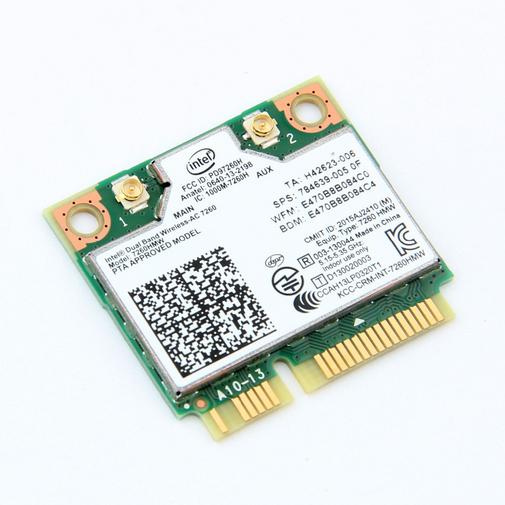 Dual Band Wireless Intel 7260 7260HMW Mini PCI-E Wifi Card 867Mbps 802.11ac 2.4G/5Ghz Bluetooth 4.0 Wi-Fi Adapter For Laptop