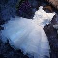 Vestidos Del Nuevo Cordón Flores Vestidos de Organza Blanco de La Princesa Tutu Vestido Sin Mangas Atractivo Del Club de Las Mujeres Vestidos de Fiesta
