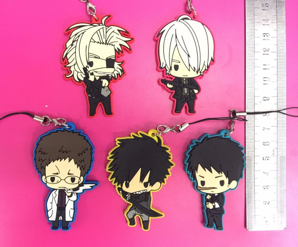 5pcs/set GANGSTA Warwick Japanese Anime Rubber Mobile Phone Charms Keychain Strap G662