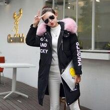 Новое прибытие женщин зимние пальто черный цвет длинный отрезок с капюшоном утолщаются меховой воротник манто femme hiver мода теплый тонкий куртки