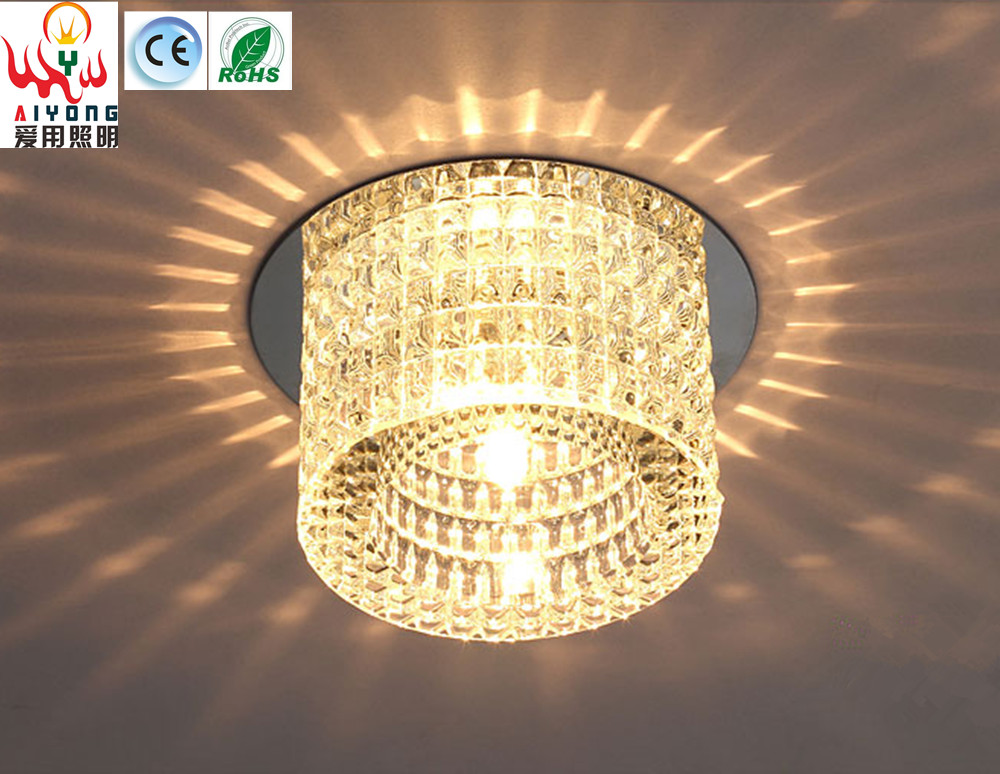 Led crystal lamp base round aisle ceiling lamp ceiling mounted or embedded dark decorated living room lights
