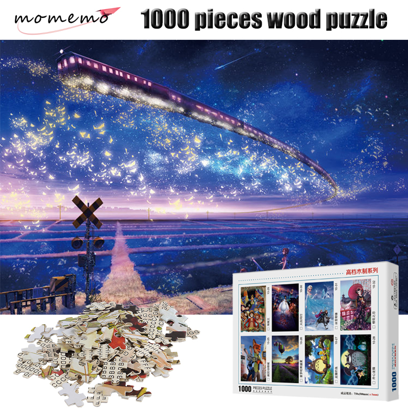 MOMEMO Trains In The Sky Jigsaw Puzzle 1000 Pieces Wooden Puzzles Adult Children Toys Assembling Puzzle Game with Box Packing