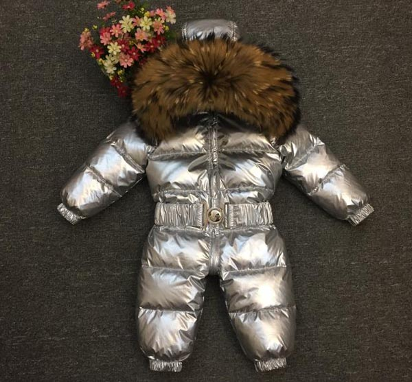 Baby down jacket kids go out skiing down jumpsuit  Natural raccoon collar coat 0-4 years oldBaby down jacket kids go out skiing down jumpsuit  Natural raccoon collar coat 0-4 years old