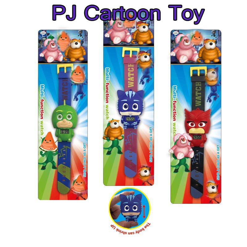 High Quality PJ Party Mask  Watch Toy Cartoon Anime PJ Connor Greg Amaya Catboy Montre - bracelet Jouet Birthday Toy  Gift les enfants pj racing mission cruiser car dessin maskmm toy anime pj car big truck display jouet children bithday gift toys