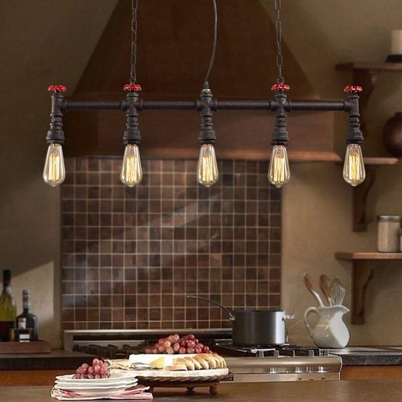 Nová móda Stará železná vodní trubka přívěsek lampa Vintage železná světla Loft Metal Závěsné lampy Edison Žhavící káva Osvětlení