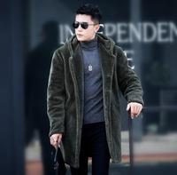 Winter Autumn Thicken Thermal Sheep Fur Leather Jackets Men Casual Mens Medium Long Coats Outerwear Fashion