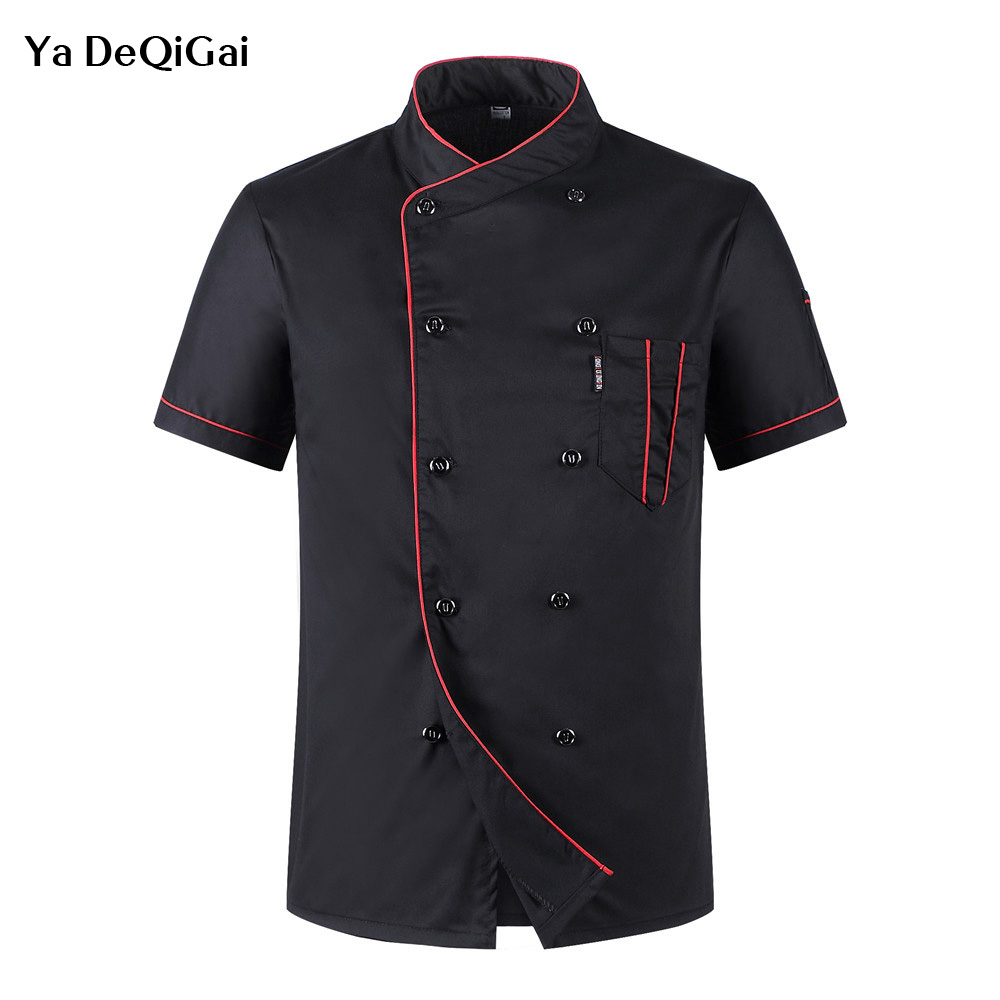 Unisex Food Service Chef Uniforms Restaurant Hotel Wholesale Cotton Chef Jacket Short Sleeve Chef's Uniform Breathable Workwear