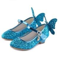 Girls Butterfly High Heel Sandals Kids Rhinestone Glitter Princess Dance Shoes 2 Colors