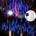 Светодиодный Солнечный дождь метеоритный дождь сад дерево праздник свет СВЕТОДИОДНАЯ Гирлянда Настенные светильники для внутреннего нару...