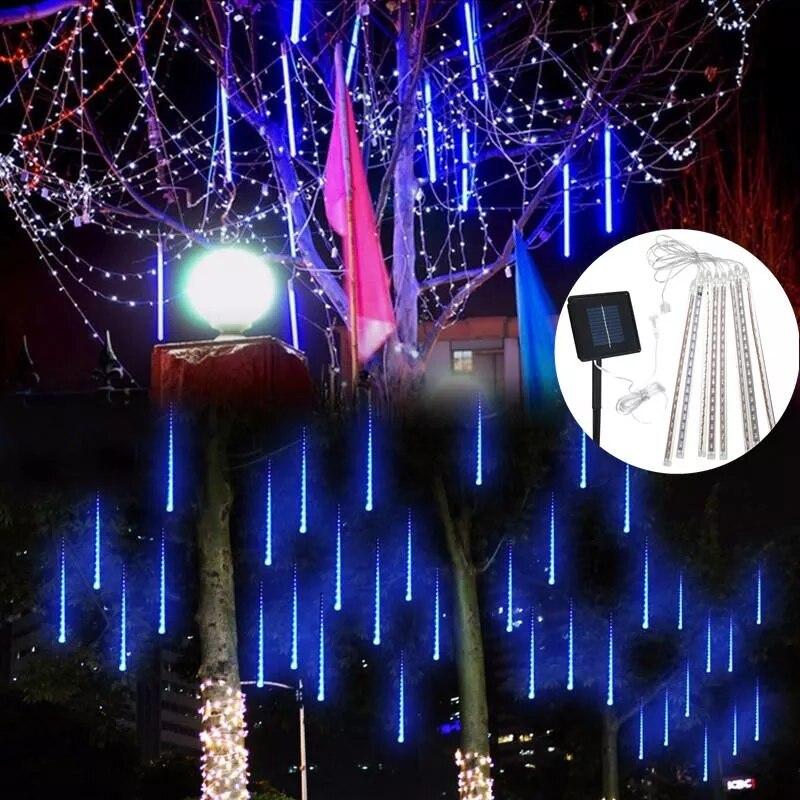 LED Solar Rain Meteor Shower Garden Tree HoliDay Light LED String Wall Lights For Indoor Outdoor Garden Wedding Party Decor