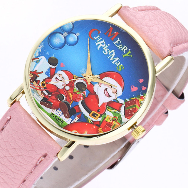 Christmas Casual Lovers' Leather Stainless Steel Quartz Analog Wrist Watches 10.