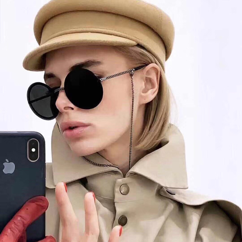 new High quality round frame grey lens women sunglasses fashion sunglasses women with chain leg and