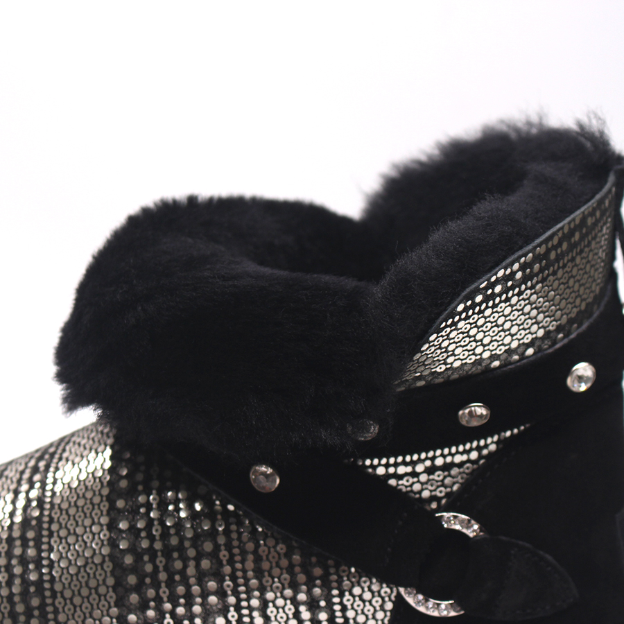 Black black 100 Superior Oveja Invierno Botas Las Para Tobillo Caliente La grey Natural Calidad Cuero grey white De Genuino Abrigo Piel Nieve Mujeres Venta qHawF