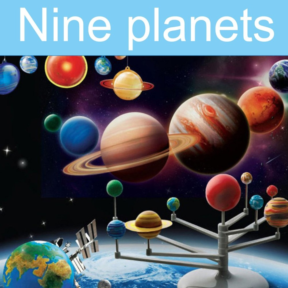DIY Early Educational Toys Nine planets in Solar System Planetarium Model Kit Astronomy Science Project Toys For Kids Children