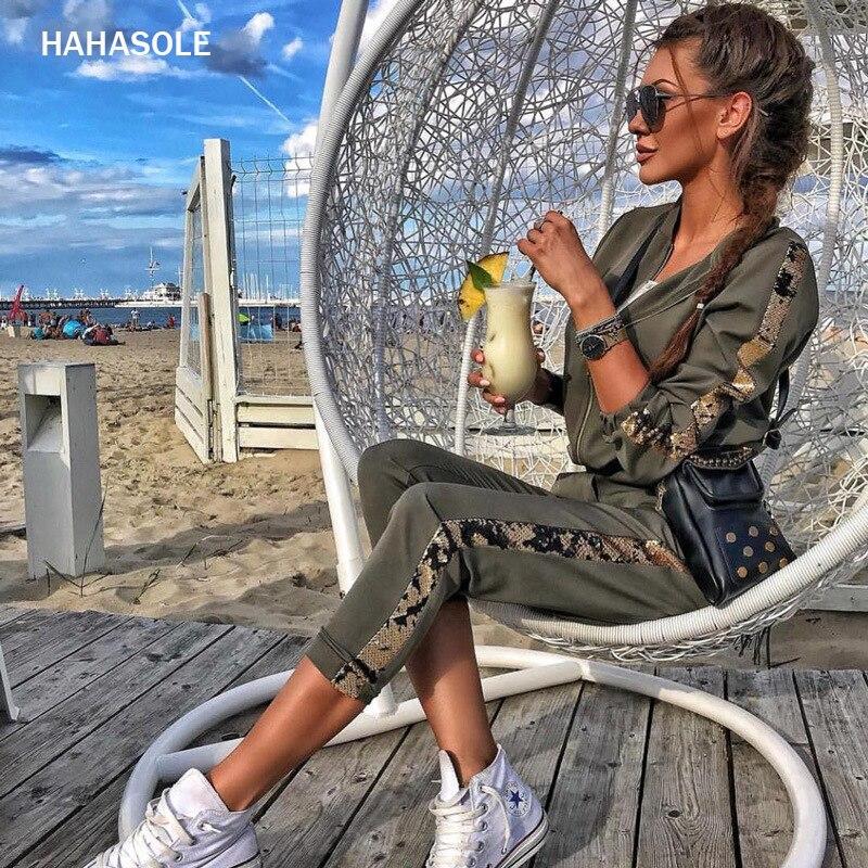 HAHASOLE Спортивная одежда для бега, армейский зеленый костюм для фитнеса, лоскутные рубашки с блестками, штаны, спортивный костюм для женщин, HWA2557 4| |   | АлиЭкспресс