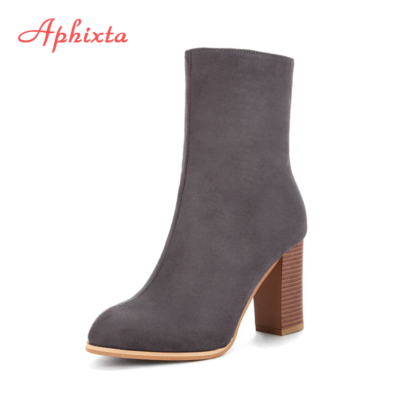 цены на Aphixta 2017 Winter Mid-Calf Boots Shoes Women Cow Suede Botas Mujer High Heel Boots Square Heel Zip Ladies Shoes Big Size 43 в интернет-магазинах