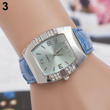 New hotWomen's Rhinestone Barrel Shape Case Faux Leather Band Analog Quartz Wrist Watch