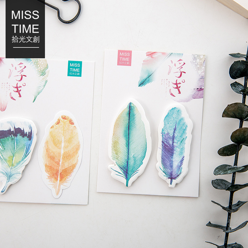 4 pcs/Lot Rainbow feather sticky note Post planner sticker Memo label Stationery Office accessories School supplies F171 kicute 70sheets pack self adhesive blank label paper price sticker stationery mark sticker for office stores libraries supplies