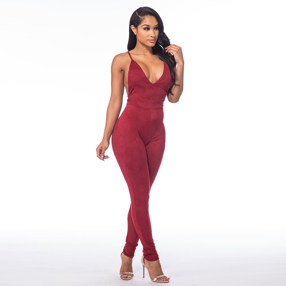 Sedrinuo Sleeveless Elegant Jumpsuit Fashion Bodycon Deep V neck Halter Cross Suede Sexy Club Jumpsuits and Rompers for Women 7