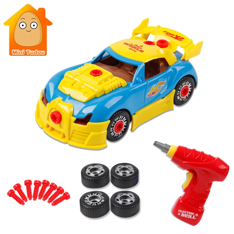 Boys Toys Building Tools For Modeling Racing Vehicle Kit With Sound Light Screw Construction Tool Set Educational DIY Toy