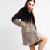 Free Shipping Winter Real Fur Coats Made OF natural Mink ,Beautiful ladies gradient Color Female Big size Mink fur jacket