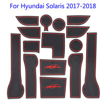 New Door Slot mat For Hyundai Solaris 2017 2018 Interior Groove Cup Dust mats Water Coaster Non-slip Cushion red/blue/white