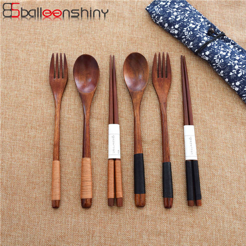BalleenShiny 3pc/set Nature Wood Dinnerware Set Eco-Friendly Tableware Set Wrapped Wire Handmade Japan Style Kitchen Accessories