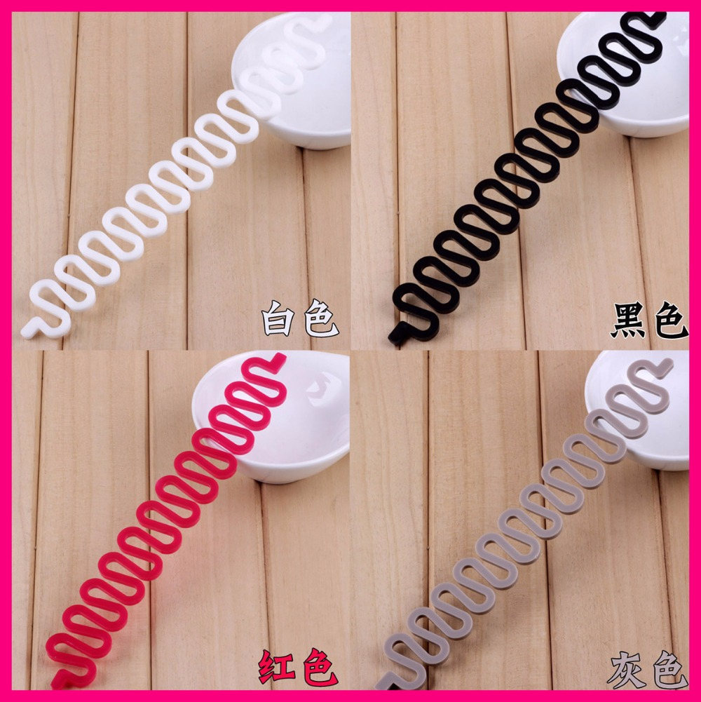 10Pcs Assorted Colors 2.5cm*19.0cm centipede shape Waved Nylon Hair Braiding Tool Braider Roller Hook,ponytail braided tools