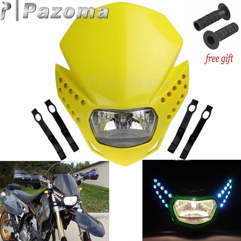 Motorrad LED Scheinwerfer w/Blinker Licht Dirt Bike Universal Kopf Licht Für Suzuki DR DRZ RM 650 200 250 125 400 80 65 85