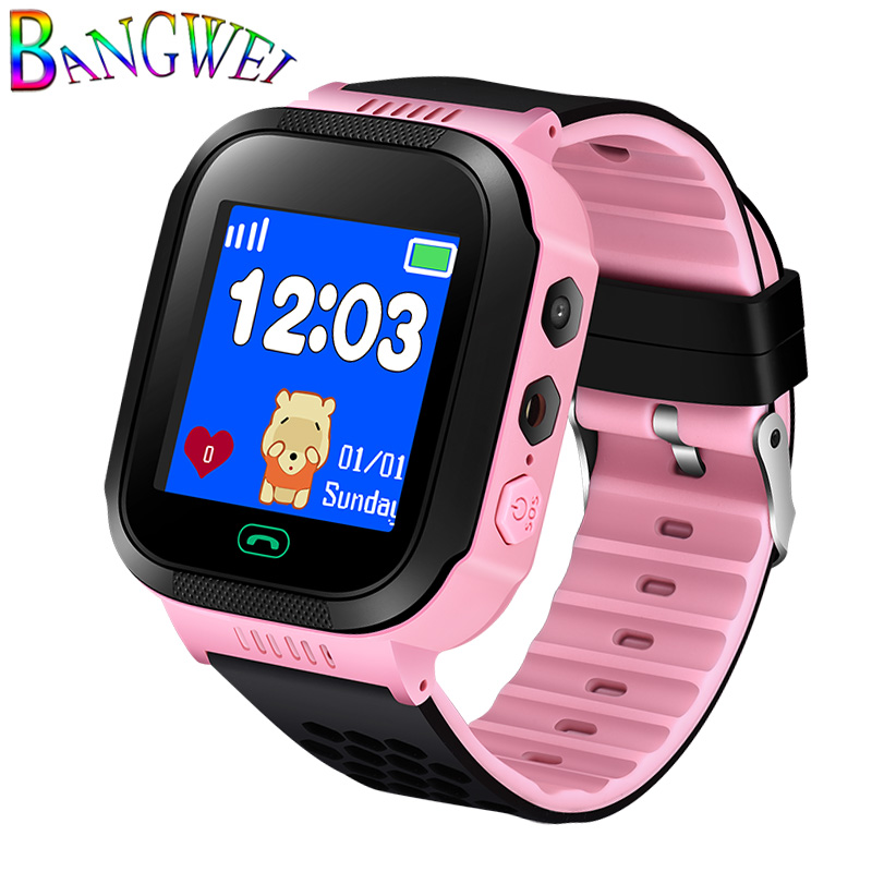 BANGWEI 2018 New Children Intelligent Sport Digital Watch OLED Color Touch Screen SOS Emergency Call LBS Security Positioning