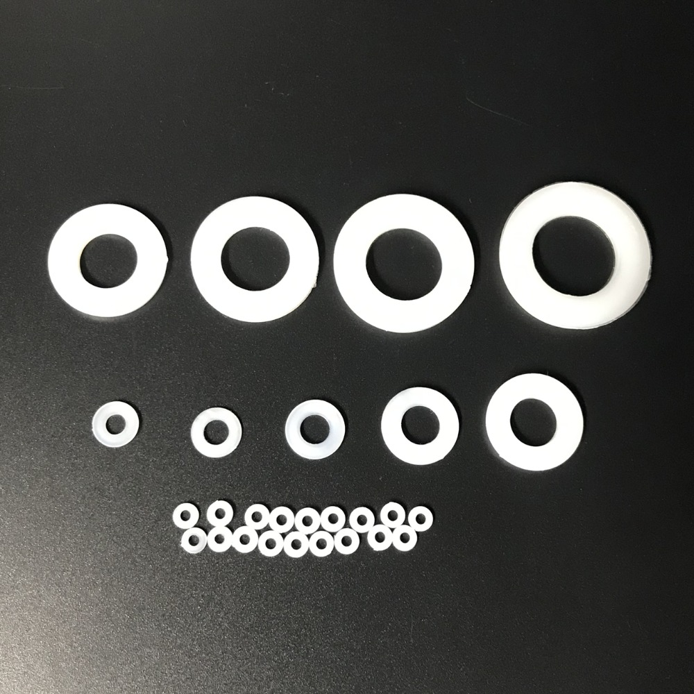 100pcs M2 M2.5 M3 M4 M5 M6 <font><b>M8</b></font> M10 M12 M14 M18 M16 M20 White Plastic Hard Nylon <font><b>Washer</b></font> Flat Spacer Seals <font><b>Washer</b></font> Gasket Ring image