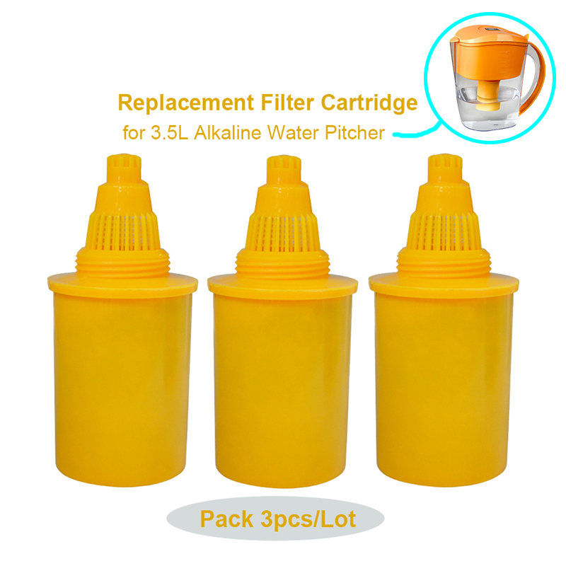 Alkaline Water Pitcher Filter Replacement Cartridge 3 Pack fits 3 5L Alkaline Ionizer Antioxidant Water Filter